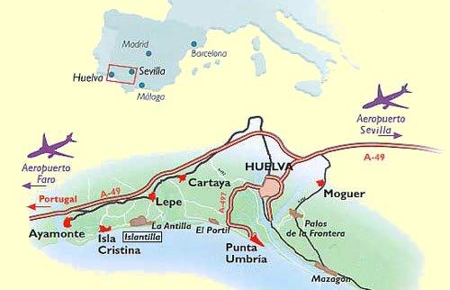 Costa De La Luz Spain Map.Tourist Information On Isla Canela Costa De La Luz Spain